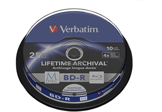 Verbatim 1x10 Verbatim M-Disc BD-R BluRay 25GB 4x Speed Cakebox printable (43825)