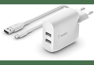 BELKIN Dual Wall Charger 24 Watt met PVC USB-A-naar-micro-USB-kabel 1 Meter Wit