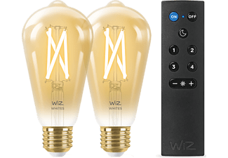 WiZ LED filamentlamp warm en koelwit 60W E27 2 stuks met afstandsbediening
