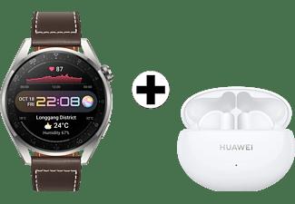 HUAWEI Watch 3 Pro Classic Bruin-Grijs + FreeBuds 4i Wit