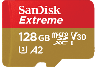 SANDISK Extreme® Micro-SDXC Speicherkarte, 128 GB, 160 MB/s, Class 10, UHS Class 3, Video Speed Class 30 (V30)