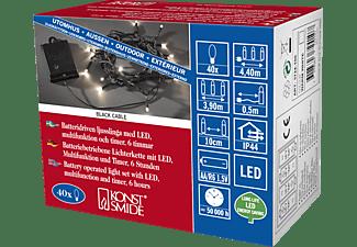 KONSTSMIDE LED Lichterkette für Außen, Batteriebetrieb, 40er LED Batterielichterkette, Schwarz, Warm weiß