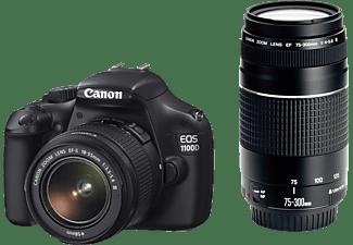 CANON EOS 1100D Digitale Spiegelreflexkamera, 18-55mm, 75-300mm Objektiv, Schwarz