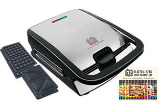 TEFAL Waffel-/Sandwichmaker SW 852 D SNACK COLLECTION SCHWARZ/EDELSTAHL