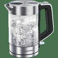 ARENDO 303076 Solid Wasserkocher, Transparent/Silber/Schwarz