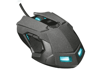 Ratón gaming - Trust GXT 4158, 5000 DPI, Retroiluminado, 1.7m, Guarda 5 perfiles para juegos,Negro