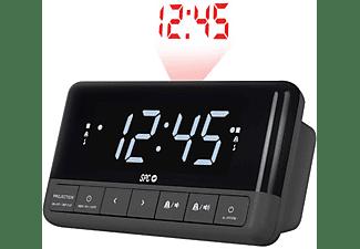 Radio despertador - SPC Floki Max 4581N, Con proyector ajustable, LED, Negro