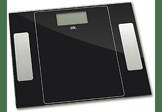 Báscula de baño - OK OPS1221 ES, Hasta 150Kg, Bluetooth, Negro