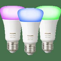 PHILIPS Hue White & Col. Amb. 3-er Pack Bluetooth LED Leuchtmittel, Weiß