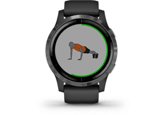 GARMIN Vivoactive 4 Smartwatch Edelstahl Silikon, 45.1x45.1x12.8 mm für einen Handgelenkumfang von 135 bis 200 mm, Schwarz/Schiefergrau