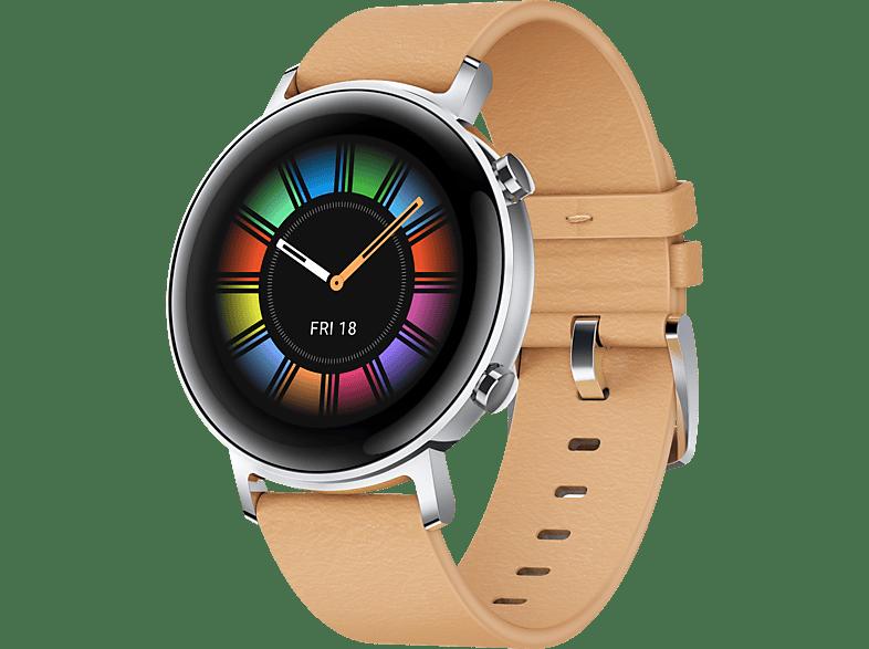 HUAWEI Watch GT 2 42mm Classic Smartwatch Leder, 130 200 mm, Beige