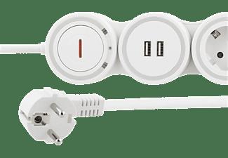 PUNEX Steckdosenleiste GT-290 4-fach, 1.4 m Zuleitung, 16 A 3500 W, 2x USB-A, weiß