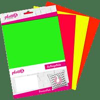 PLOTTIX PX PremiumFlock Neon 20 x 30cm Bundle (4 Stk.) Aufbügelfolie Mehrfarbig