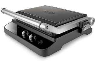 Grill - Black & Decker BXGR2000E, Potencia 2000 W, Placas Intercambiables, Superfície antiadherente, Negro