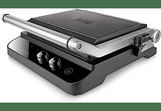 Grill - Black & Decker BXGR2000E, 2000 W, Apertura 180º, Doble placa (grill y lisa), Termostato, Negro