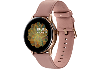 SAMSUNG Galaxy Watch Active2 Stainless Steel 40mm GO Smartwatch Edelstahl Echtleder, S/M, Gold
