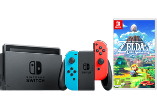 NINTENDO Switch Neonrot/blau (neue Edition) + The Legend of Zelda: Links Awakening