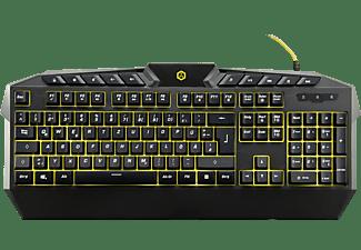 ISY Gaming Tastatur IGK-1000, schwarz, gelb beleuchtet, USB