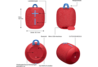 ULTIMATE EARS Wonderboom 2 Bluetooth Lautsprecher, Radical Rot, Wasserfest