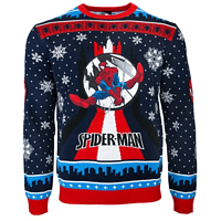 SpiderMan Swinging Xmas JUMPER / SWEATER L