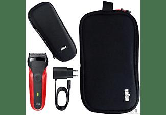 Afeitadora -  Braun Series 3 300, Resistente al agua, Pantalla LED, Recargable, Tapa protectora, Rojo