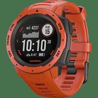 GARMIN Instinct Smartwatch Faserverstärktes Polymer Silikon, S-L, Hellrot/Schiefergrau
