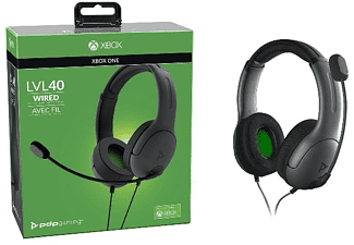 Auriculares gaming - PDP LVL40, Para Xbox One, Con Cable, Micrófono, 40 mm, Gris