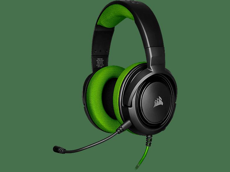 CORSAIR HS35, Over-ear Gaming Headset Schwarz Grün