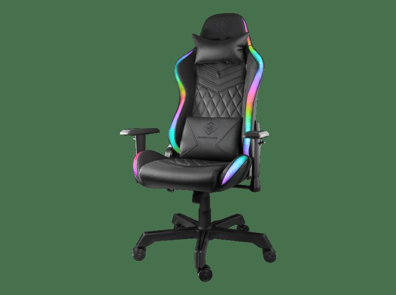 DELTACO GAMING Gamingstol med RGB belysning i PU läder, tiltbar 180° svart
