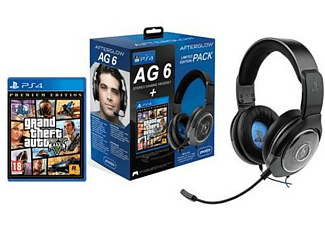 Pack Auriculares gaming - PDP AG6 Wired Afterglow, Con cable, Micrófono + PS4 GTA V (Premium Edition)