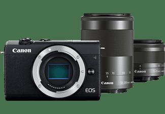 CANON Hybride camera EOS M200 + 15-45 mm + 55-200 mm Zwart
