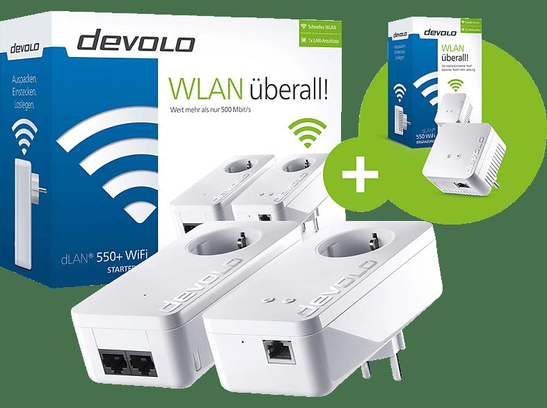 DEVOLO dLAN 550+ WiFi Starter Kit plus dLAN 550 WiFi Ergänzungsadapter mit 25% Rabatt sichern!