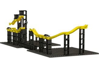 HUBELINO pi Marble Run Set Gausskanone - Blocs de construction (Noir/Jaune)