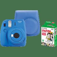 FUJIFILM Instax Mini 9 + Case + Film Sofortbildkamera, Cobalt Blue