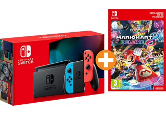 NINTENDO Switch neonrot/blau (neue Edition) mit Mario Kart 8 Deluxe (digitale Vollversion)
