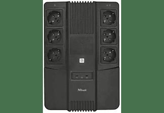 Ladrón de enchufes - Trust UPS Maxxon, Con batería, 800V, 6 tomas de corriente, Protección sobrecarga, Negro