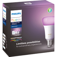 PHILIPS Hue White & Col. Amb. E27 Starter Set Bluetooth LED Leuchtmittel, Weiß