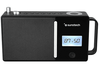 Radio portátil - Sunstech RPDS500BK BT, FM, Puerto USB, Conexión aux-in, LCD, Hasta 30 presintonías, Negro