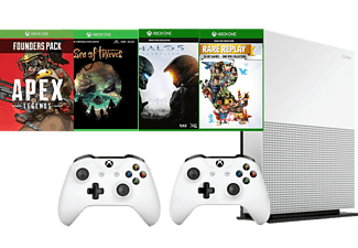 MICROSOFT Xbox One S 1TB (Inkl. 2 st Handkontroller, Sea of Thieves, Halo 5, Rare Replay & Apex Founders Pack)