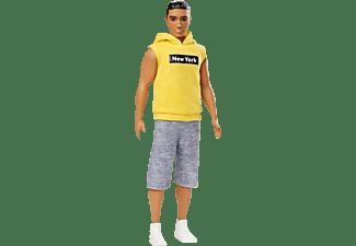 BARBIE Ken Fashionistas mit ärmellosen, gelben Hoodie Puppe Mehrfarbig