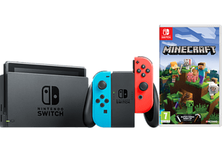 NINTENDO Switch Neonrot/blau (neue Edition) + Minecraft