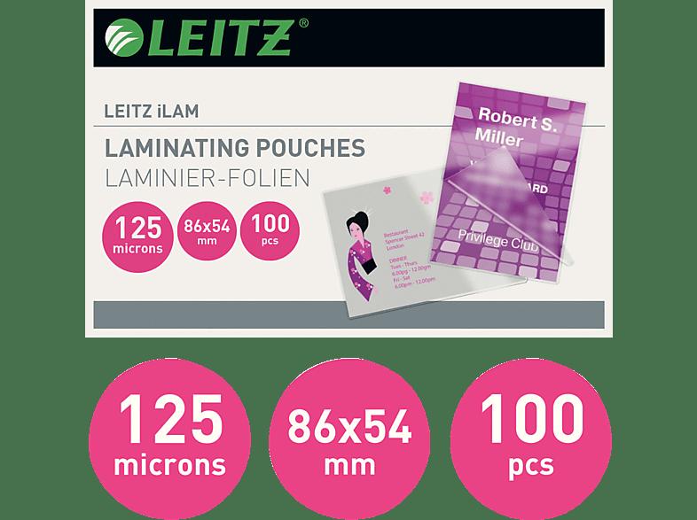 LEITZ iLAM Heißlaminierfolien Kreditkartenformat, 100 Stück, 54 x 86 mm, 125 mic, glänzend Laminierfolien