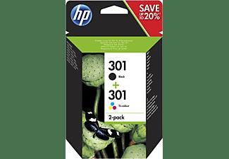 Cartucho de tinta - HP 301 Combo 2 Pack, Negro/Tricolor, N9J72AE