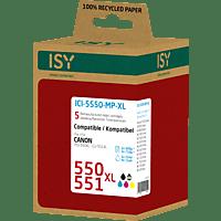 ISY ICI-5550-MP-XL Tintenpatrone Multipack, wiederaufbereitete Tintenpatrone 550 XL und 551 XL, Mehrfarbig