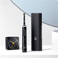 ORAL-B Genius X Limited Design Edition mit Braun Wecker & Premium Lade-Reise-Etui Elektrische Zahnbürste Schwarz