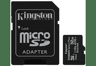 Tarjeta Micro SD - Kingston A0028782, 32 GB, Velocidad hasta 100 MB/s, Clase 10, Adaptador SD, Negro