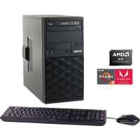 HYRICAN CTS00678, Desktop PC, Ryzen 5 Prozessor, 8 GB RAM, 480 GB SSD, Radeon Vega 8, Schwarz