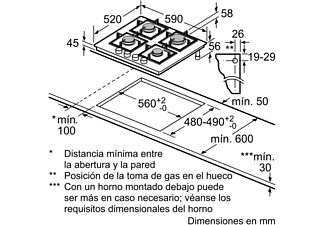 Encimera - Balay 3ETG664HB, Vitrocerámica, Gas, 4 quemadores, Negro
