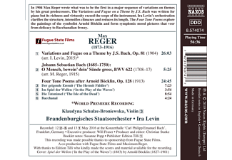 Brandenburg.Staatsorch, Johann Baptist Joseph Maximilian Reger, Schulze-broniewska - Four Tone Poems after Arnold Böcklin  - (CD)