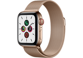 APPLE Watch Series 5 GPS + Cell 40mm Edelstahlgehäuse Gold mit Gold Milanaise Armband